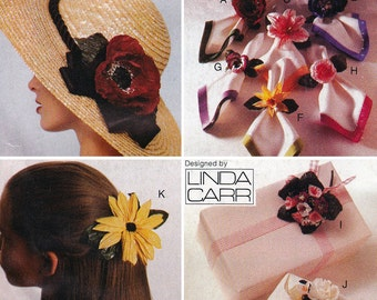 Paper Twist Flowers Pattern - Vogue 511 - Paper Corsage Pattern, Flower Barrette, Flower Napkin Ring