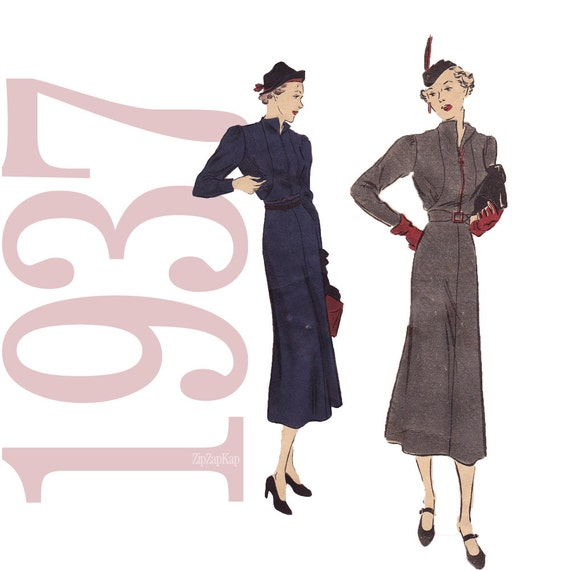 1930s Dress Vintage Pattern - B34 - Vogue 7510 - Easy 30s Frock Sewing Pattern