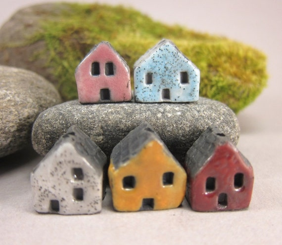5 Saggar Fired Miniature House Beads...Pink Blue White Yellow Red