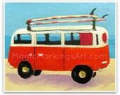 Retro VW bus- surf art, beach, wall decor, orange, 8x10 print from an original painting by Cathie Carlson