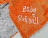 Gray and Orange minky baby Blanket Personalized for boy