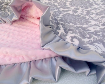 Pink and Gray Damask  Minky Baby Blanket - for baby girl or adult throw