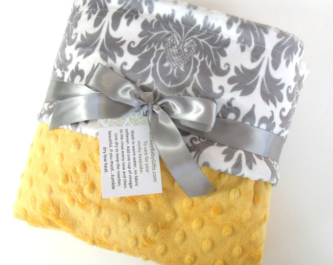 Saffron Yellow and Gray Damask Minky Baby Blanket - for boy or girl Can Be Personalized