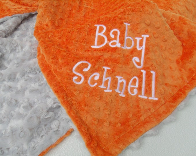 Gray and Orange minky baby Blanket for boy, three sizes Can Be Personalized