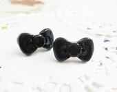 Clay Earrings - Mini Black Bows (Hello Kitty Style) - LAST PAIR -