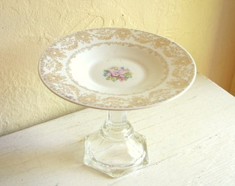 Small Pedestal Dish Upcycled Vintage White with 22K Gold Details Saucer