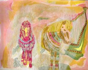 Icelandic Horses in Icelandic Sweaters - Art Print