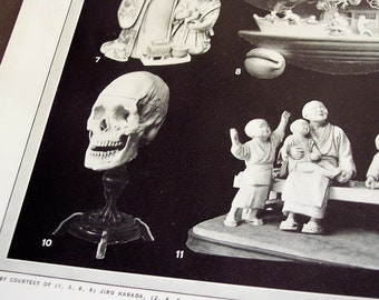 Ivory Carving prints, set of 6, vintage 1929 illustrations - Ivory, Jade, Stone art carvings
