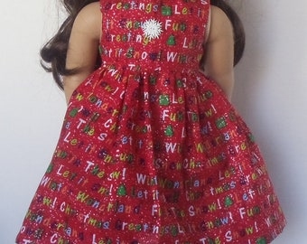 18 inch Doll Clothes - Sparkly Let It Snow Dress - CHRISTMAS HOLIDAY DRESS - red green white - fits American Girl