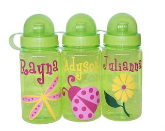 Personalized Water Bottle - Flower / Ladybug / Dragonfly