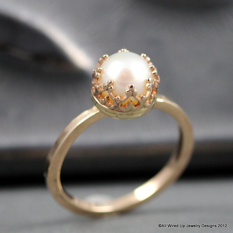 14k gold pearl ring pearl engagement ring sizes 3 by ppennee