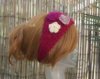 Handmade Knit Rose Head Wrap Earwarmer Headband with Crochet Three Flower
