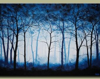 Blue Fog Forest Hazy Abstract Landscape Art Painting Large Wall Art Original Landscape Tree Art Canvas Hand Painted Landscape Art by DROBART