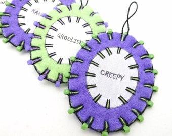 Wool Felt Halloween Word Ornaments with Beading - Set of 4