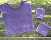Montessori Toddler Apron Set in Purple Terry Cloth (for Practical Life and Water Activities)