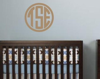 Personalized Circle Monogram with Border II- vinyl wall decal