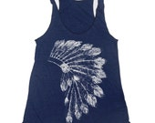 Womens Native American HEADDRESS american apparel Tri-Blend Racerback Tank Top S M L (10 Color Options)