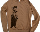 Unisex - River OTTER (in a Fedora) - Fleece Classic Sweatshirt - American apparel sizes xs s m l xl