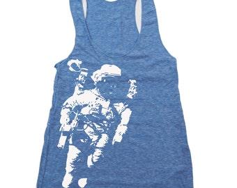 Women's SPACE -hand screen printed Tri-Blend Racerback Tank Top xs s m l xl xxl  (+Colors)