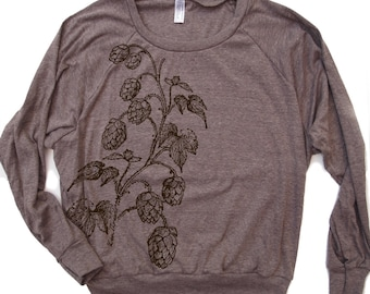 Womens HOPS Tri-Blend Pullover - american apparel S M L (5 Color Options)