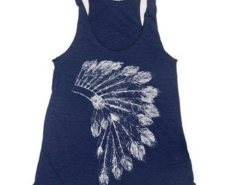 Women's Native American HEADDRESS -hand screen printed Tri-Blend Racerback Tank Top xs s m l xl xxl  (+Colors)