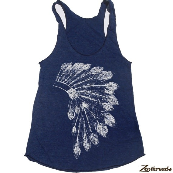 Womens Native American HEADDRESS american apparel Tri-Blend Racerback Tank Top S M L (10 Color Options)