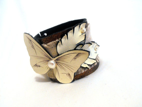 Woman leather bracelet. Leather cuff bracelet with butterfly SALE
