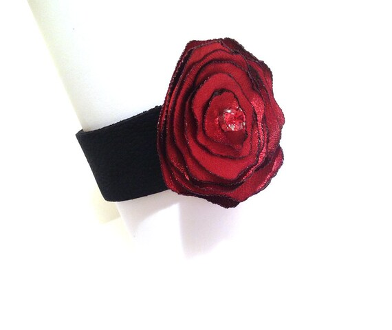 SALE Fabric bracelet Leather bracelet with fabric flower Corsage bracelet with swarovsky crystal