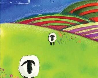 Sheep Rainbow Striped Vermont Hills Greeting Card Blank