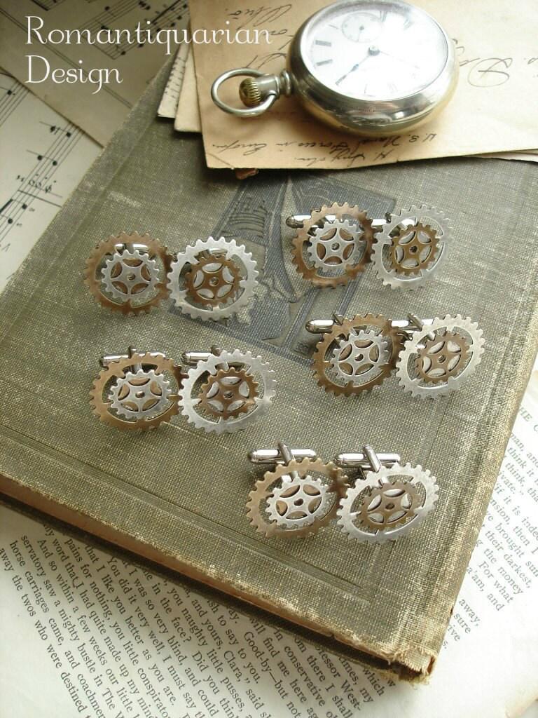GROOMSMEN GIFTS Set Of 3 Steampunk Wedding Cufflinks