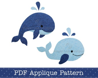 Whales Applique Template PDF Pattern Includes Jumping Whale and Swimming Whale Applique Design by Angel Lea Designs