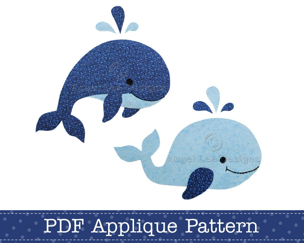 whales applique template pdf pattern includes jumping whale. Black Bedroom Furniture Sets. Home Design Ideas