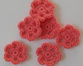 Mini Six Crocheted Flowers - Coral - Cotton - Set of 6 - Crocheted Appliques - Crocheted Embellishments