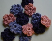 Wool Crocheted Flowers - Pink, Lilac, Purple - Forget-Me-Nots - Wool Blend - Set of 6