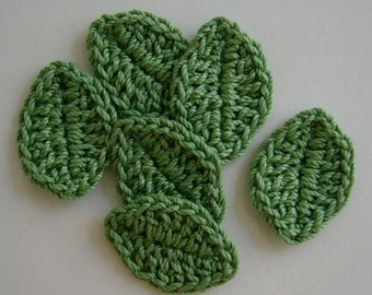 Crocheted Leaves - Sage Green - Cotton  Leaves - Crocheted Leaf Appliques - Crocheted Leaf Embellishments - Set of 6