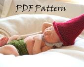 PDF Crochet Pattern for Garden Gnome Newborn Photo Prop