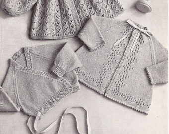 PDF Knitting Pattern Baby Knitted Matinee Coat/Jackets to fit Birth to 9 Months (WW209)