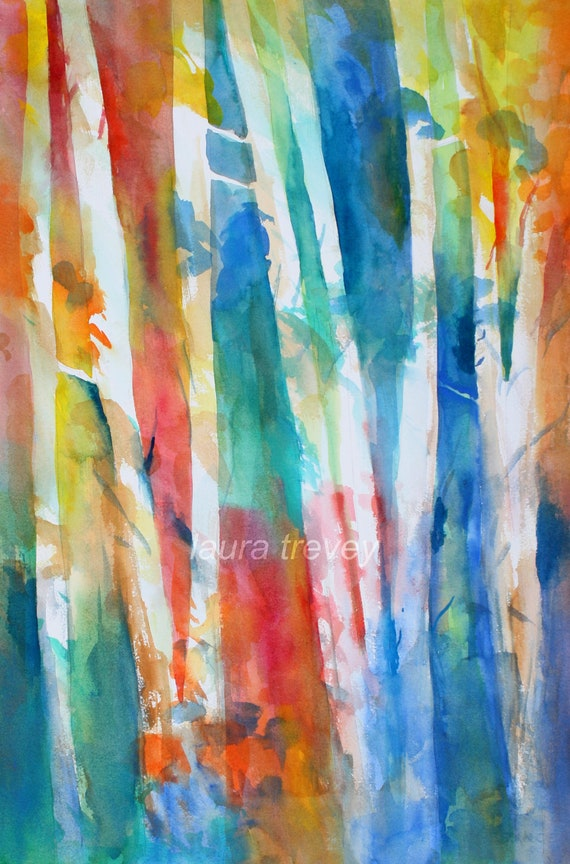 Birch Trees Watercolor Print By Lauratrevey On Etsy