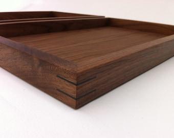 Modern Walnut Display Box Ottoman Trays - Sized to Fit - Interior Design Decor - Coffee Table Topper Sand Trays
