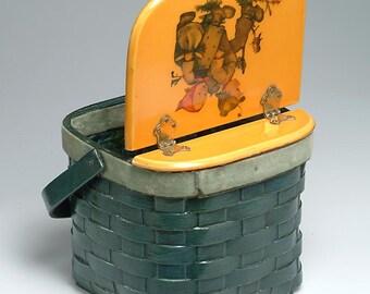 M. I. HUMMEL Design - Vintage Basket, Sewing Basket, Purse, Handbag: Two Children Walking - special gift for any Hummel collector