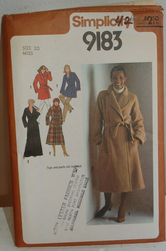 Vintage 1970s Women's XL Wrap Coat Sewing Pattern Simplicity 9183
