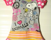 I heart animals....SNOOPY.....super cool funky recycled upcycled repurposed pieced  dress or tunic size 5/6