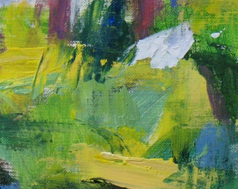 Late Summer ORIGINAL ABSTRACT painting 6 x 6 abstract forest Atlanta summer mauve green yellow