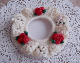 Wool Hair Scrunchie Off-white x Red Roses