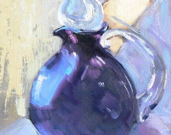 "Vase Painting, Daily Painting, Vase Still Life, ""Purple Vase"" by Carol Schiff, 6x8"" Oil"