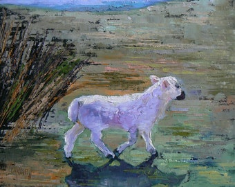 "Lamb Oil Painting, Textured Oil Painting, Daily Painting  ""On The Moor Again"", 8x10"""