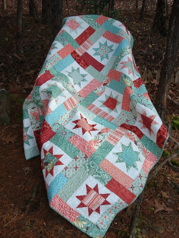 Green And Terra Cotta Star Quilt