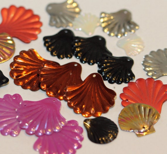 Sequins Only -  Vintage Fun Pack Assortment - Just Scallop Clam Shells - (50 plus)