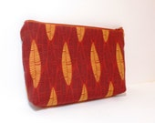 Medium Zipper Pouch Cosmetic Pouch Pencil Case Tribal Pattern in Pumpkin and Brown