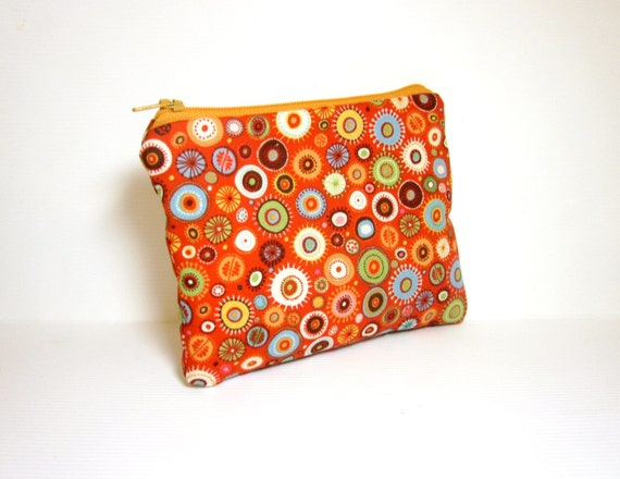 Small Zipper Pouch Small Wallet Small Cosmetic Pouch Colorful Dots in Orange